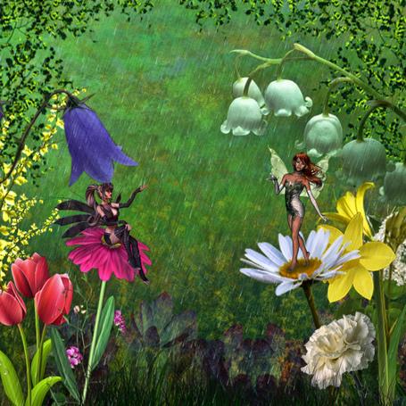 Фото Феи среди цветов под дождем