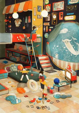 Фото Дети в комнате, из окна которой видны фантастические животные, плавающие под водой