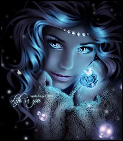 Фото Девушка в магическом сиянии с цветком и бабочкой, by saritaangel07 (Life is You)