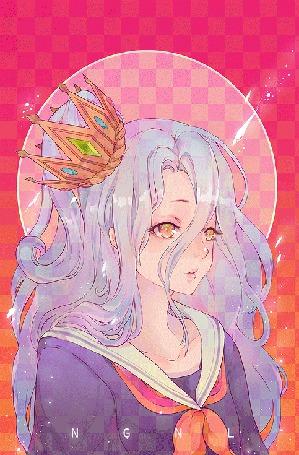 Фото Shiro / Широ из аниме No Game No Life / Нет игры - нет жизни / Игра на выживание с короной на голове