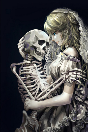 Фото Девушка в белом платье и скелет
