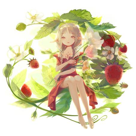 Фото Девушка-эльф с цветами в руках сидит на листочке земляники