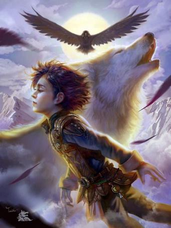 Фото Мальчик парит на фоне волка и птиц, by TeiIku
