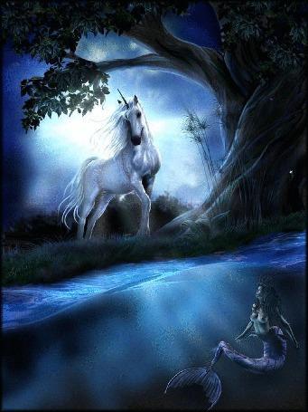 Фото Единорог стоит на поляне у дерева и смотрит на русалку плавающую в воде