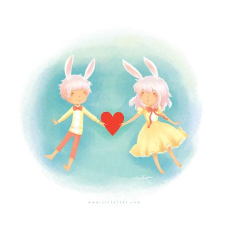 Фото Девочка и мальчик с ушами кролика держат между рук красное сердце