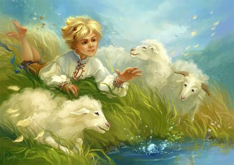 Фото Мальчик в окружении овечек, ву Натальи Мотуз