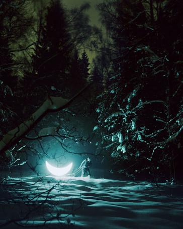 Фото В зимнем лесу ночью, мужчина на санях везет месяц