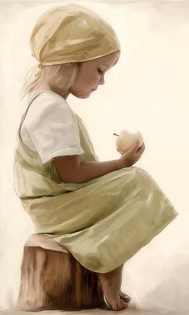 Фото Девочка с яблоком в руке сидит на пеньке