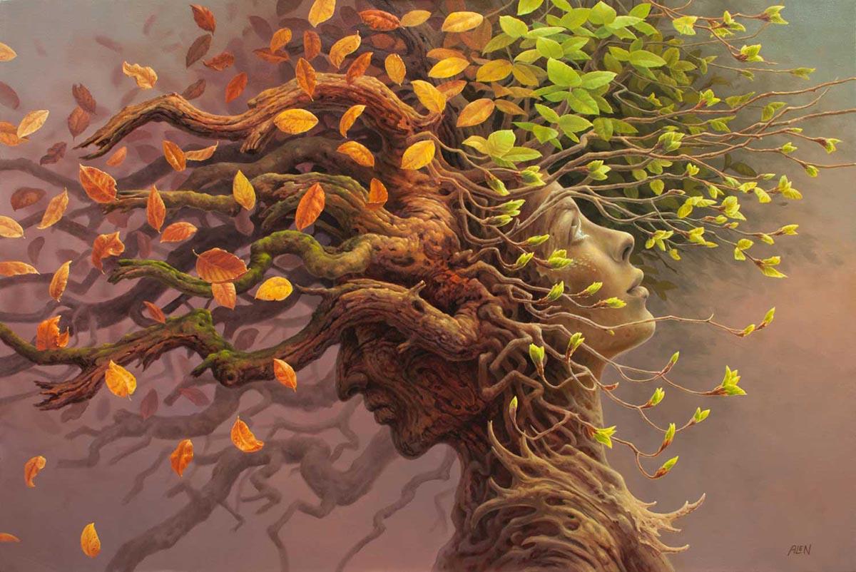 Фото Изображение влюбленных, парень - осень и девушка - весна, ву Tomasz Alen Kopera