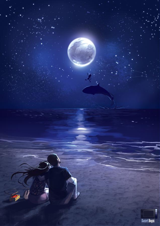 Рисунок моря при луне