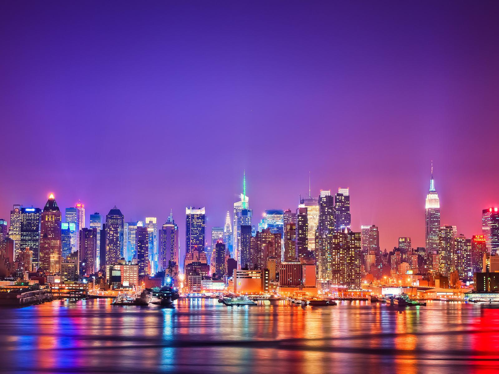 Фото ночной город нью йорк