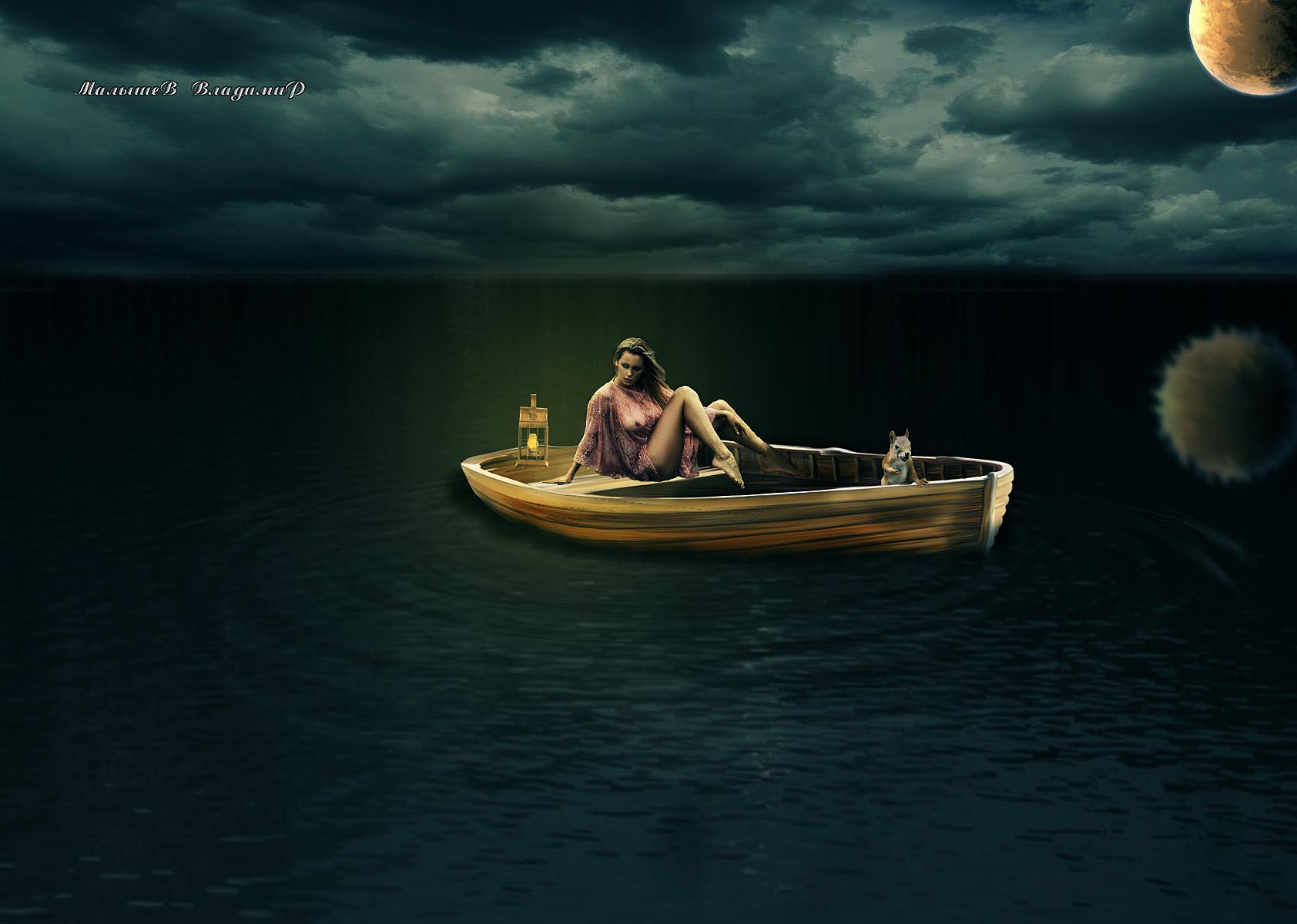 лодка под луной