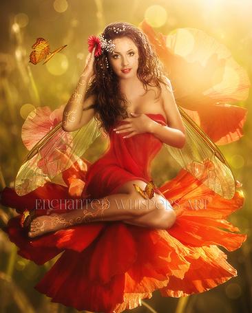 Фото Девушка - эльфийка сидит на цветке, by EnchantedWhispersArt