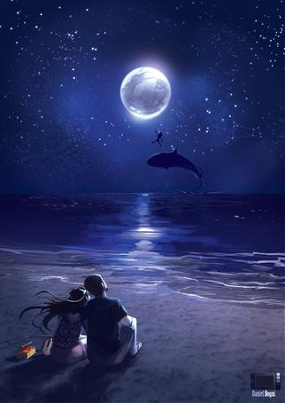 Фото Влюбленная пара наблюдает за дельфином и человечком над морем, by danielbogni
