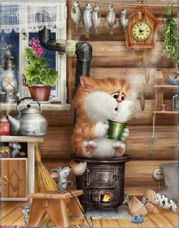 Фото Кот с чашкой горячего питья сидит на работающей печке-буржуйке, а вокруг хозяйничают мыши