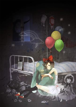 Фото Девушка в окружении игрушек в больничной палате