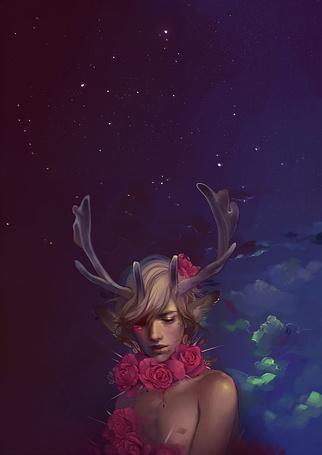 Фото Парень с оленьими рожками на фоне ночного неба