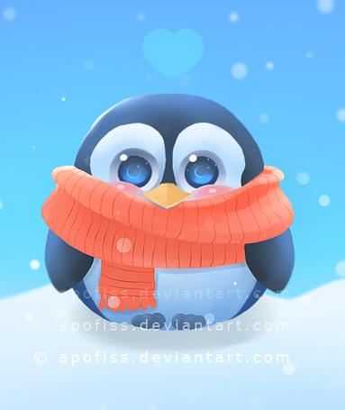 Фото Пингвин в шарфе под падающим снегом, art by apofiss