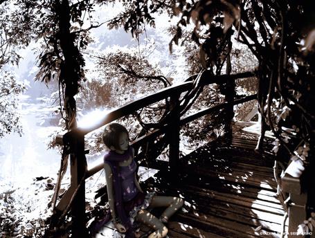 Фото Осаки Нана сидит на деревянном мосте закрыв глаза. Аниме Нана / Nana