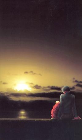 Фото Осаки Нана / Osaki Nana сидит на каменной ограде и смотрит на закат. Аниме Нана / Nana