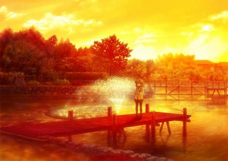 Фото Fuko Ibuki / Фуко Ибуки из аниме Кланнад / Clannad стоит на деревянном помостке