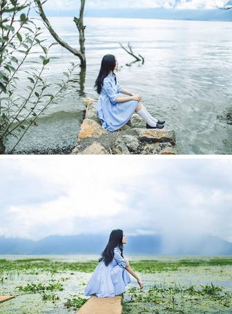 Фото Серия из 2 фотографий. На первой девушка сидит на камнях возле водной глади, на второй - на дощечке, которая плавает в болотистой воде