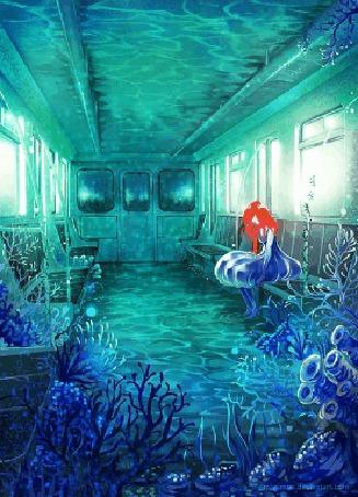 Фото Девушка с красными волосами сидит в вагоне, в котором растут водоросли