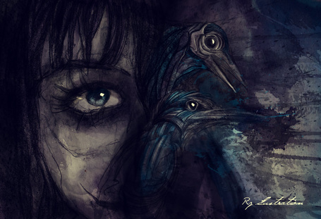 Фото Портрет девушки с птицами, ву Rz00
