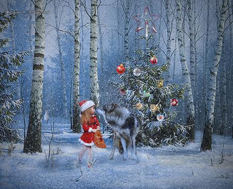 Фото В зимнем Новогоднем лесу встретились девочка и волк около елки, Вдалеке сидит заяц, идет снег