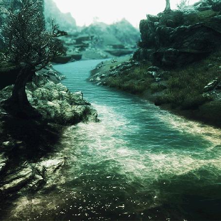 Фото Река бежит вдоль берега