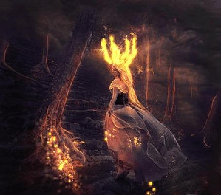 Фото Девушка с горящими волосами идет по ступенькам в волшебном лесу, by llamacria