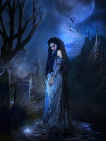 Фото Девушка стоит в воде рядом с памятником, вдали виднеется замок над ним летают летучие мыши