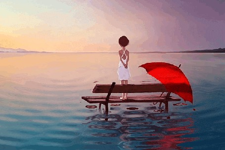 Фото Девушка стоит на скамье, положив рядом раскрытый красный зонт, и любуется красками утренней зари над морем