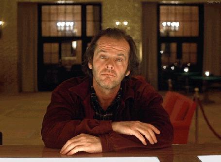Фото Джек Николсон / Jack Nicholson - легендарный американский актер, режиссер и продюсер, кадр из фильма Сияние / The Shining