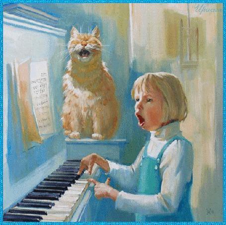 Фото Девочка играет на пианино и вместе с котом поют