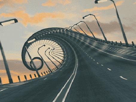 Фото Дорога, в виде бесконечной спирали, уходит вдаль