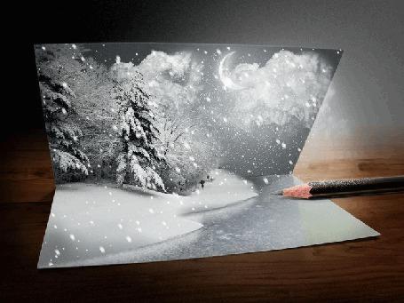 Фото На листе карандашом нарисован снегопад в зимнем лесу