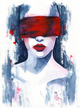 Фото Девушка с красной повязкой на глазах