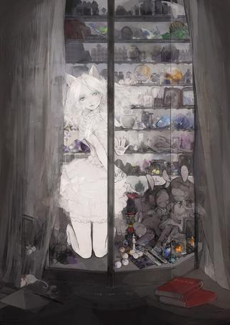 Фото Девушка с ушками за стекляными дверями среди игрушек и других предметов