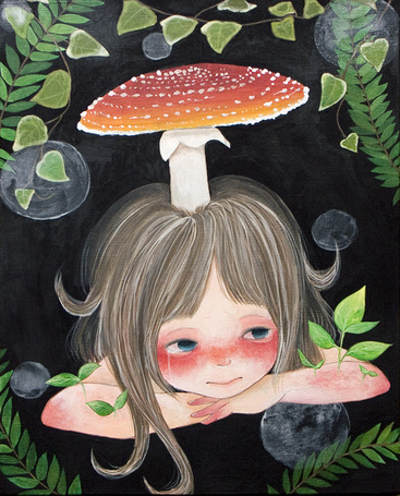 Фото Плачущая девочка с мухомором на голове