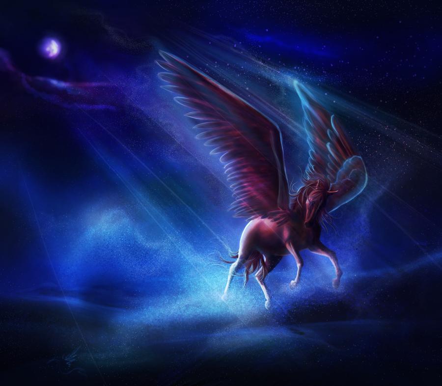 Фото Лошадь с крыльями на фоне ночного неба с луной, by ...
