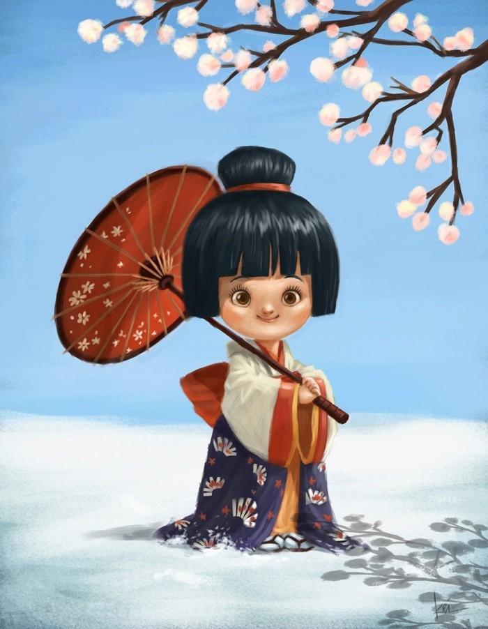Фото Девочка с зонтиком стоит на снегу под цветущим деревом