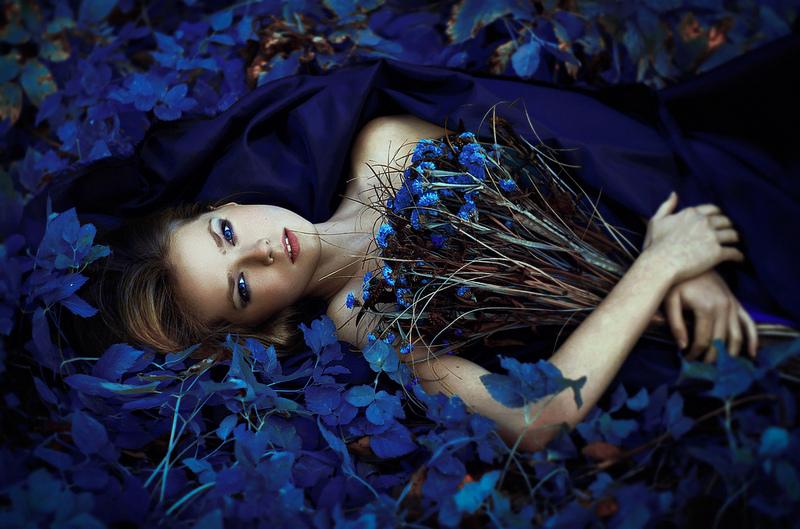 Фото Девушка с синими глазами лежит среди синих цветов и синей листвы, прижимая к себе букетик из синих цветов