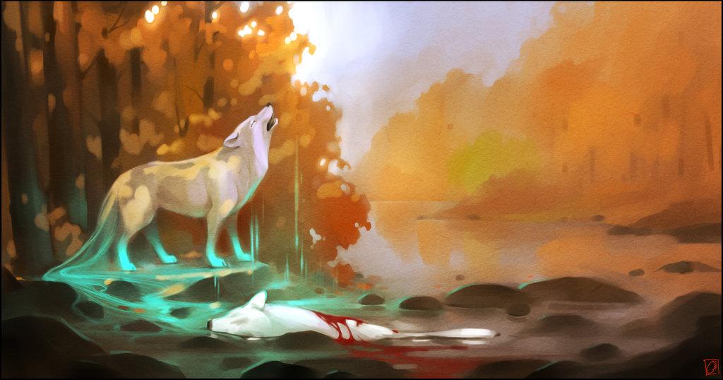 Фото Белый волк воет над погибшим собратом, тело которого лежит в воде