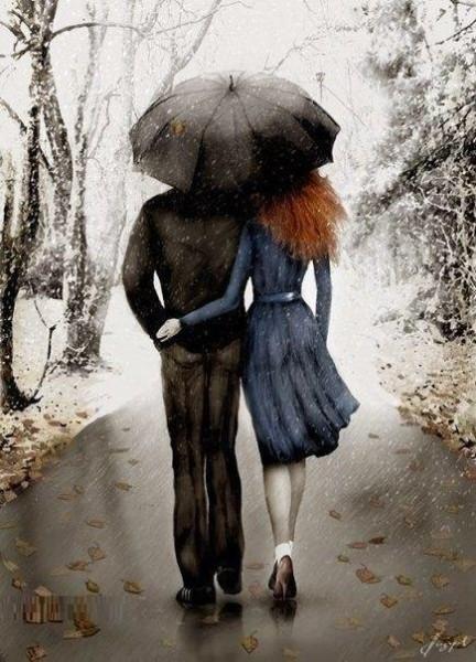 Люди под зонтом рисунки
