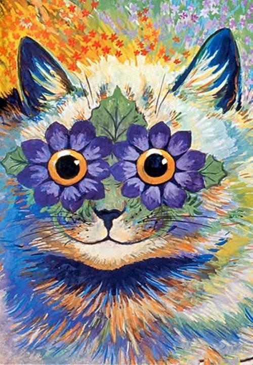 Фото Рисунок кошки с цветами вместо глаз, художник Борис Касьянов
