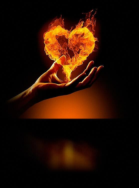 Открытки с горящим сердцем, открытки для поднятия