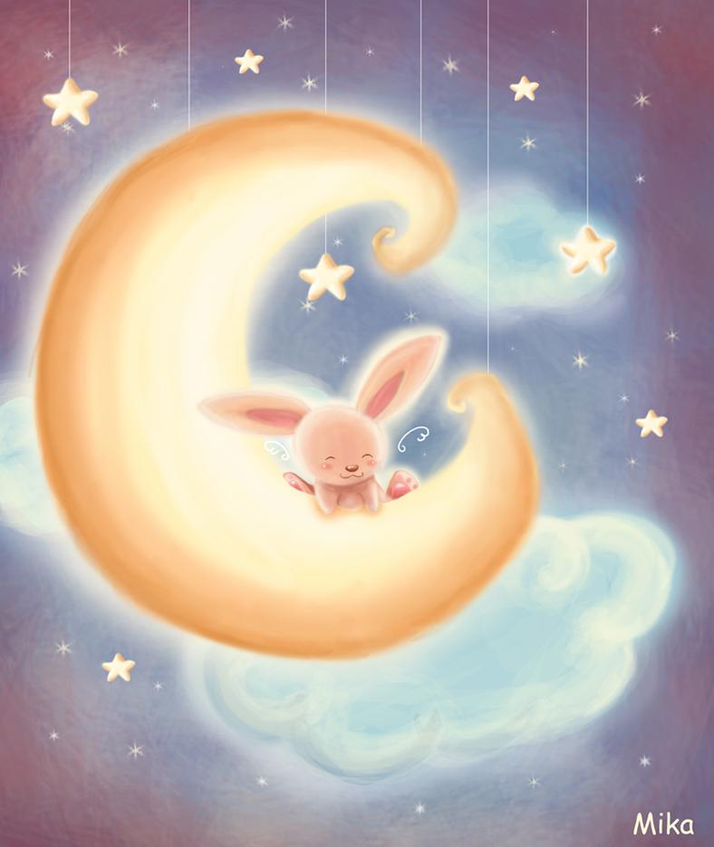 Открытка, открытка с кроликом спокойной ночи