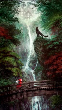 Фото Девочка в красном плаще с топором идем по мосту, наверху на краю скалы, возле водопада, стоит волк, by LuisMelon