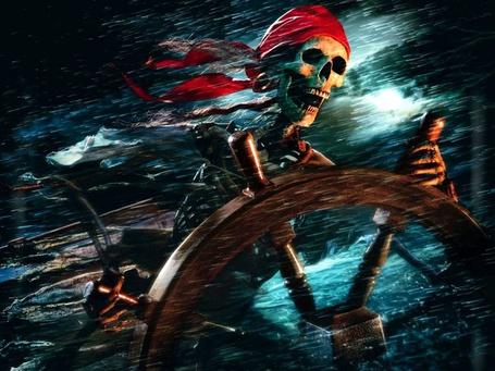 Фото Скелет на штурвалом корабля